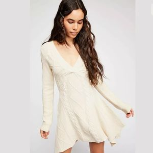 FREE PEOPLE CABLES & CASTLES CABLES SWEATER DRESS